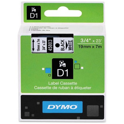Dymo D1 Tape for Electronic Labelmakers 19mmx7m Black on White Ref 45803 S0720830
