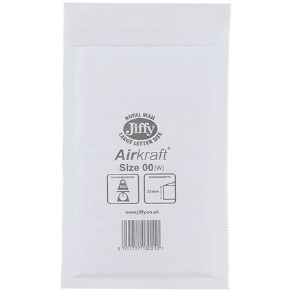 Jiffy Airkraft No.00 Bubble-lined Postal Bags, 115x195mm, Peel & Seal, White, Pack of 100