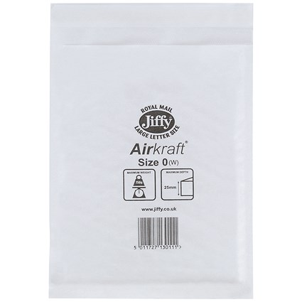 Jiffy Airkraft No.0 Bubble-lined Postal Bags / 140x195mm / Peel & Seal / White / Pack of 100