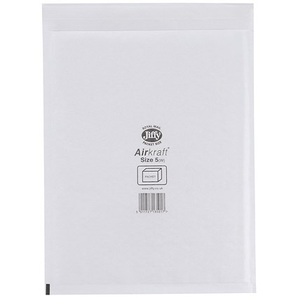 Jiffy Airkraft No.5 Bubble-lined Postal Bags, 260x345mm, Peel & Seal, White, Pack of 50