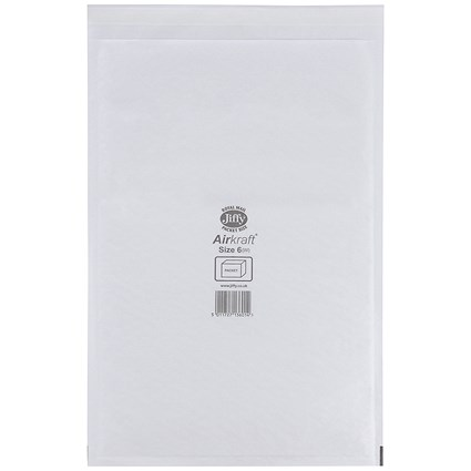 Jiffy Airkraft No.6 Bubble-lined Postal Bags, 290x445mm, Peel & Seal, White, Pack of 50