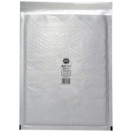 Jiffy Airkraft No.7 Bubble-lined Postal Bags / 340x445mm / Peel & Seal / White / Pack of 50