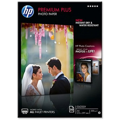 HP A4 Premium Plus Glossy Photo Paper / White / 300gsm / Pack of 50