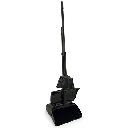 Bentley Long Handled Dustpan & Brush With Lid Set - Black