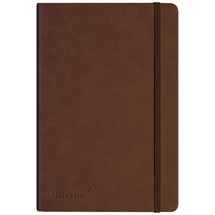 Silvine Executive Soft Feel Notebook / A4 / Ruled with Marker Ribbon / 160 Pages / Tan