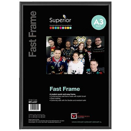 5 Star Black Photo Frame - Back Loading - Clear Front - A3