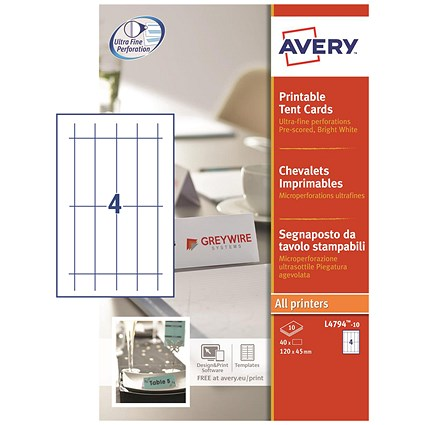 graphic regarding Avery Printable Business Cards known as Avery Printable Office Tent Playing cards, 120mm x 45mm, 4 for each Sheet, White, 190gsm, Pack of 40