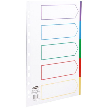 Concord Subject Dividers, Extra Wide, 5-Part, A4, Multicoloured Tabs, White