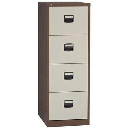 Trexus Foolscap Filing Cabinet, 4-Drawer, Brown & Cream