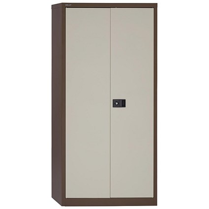 Trexus Tall Steel Storage Cupboard - Coffee & Cream