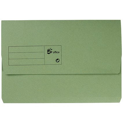 5 Star Document Wallets Half Flap / 285gsm / Foolscap / Green / Pack of 50