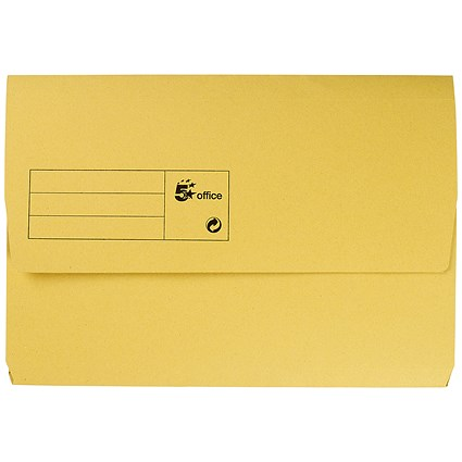 5 Star Document Wallets Half Flap / 285gsm / Foolscap / Yellow / Pack of 50