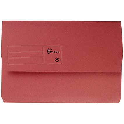 5 Star Document Wallets Half Flap / 285gsm / Foolscap / Red / Pack of 50