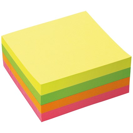 5 Star Sticky Notes Cube, 76x76mm, Neon Rainbow, 400 Notes