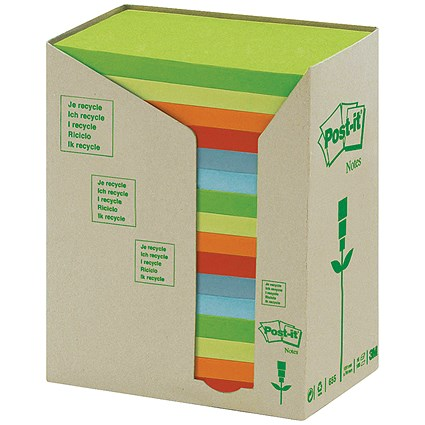 Post-it Recycled Notes Tower Pack, 76x127mm, Pastel Rainbow, Pack of 16