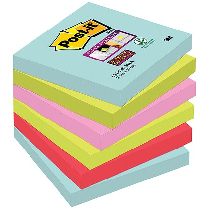 Post-It Super Sticky Notes, 76x76mm, Miami assorted, Pack of 6 x 90 Notes