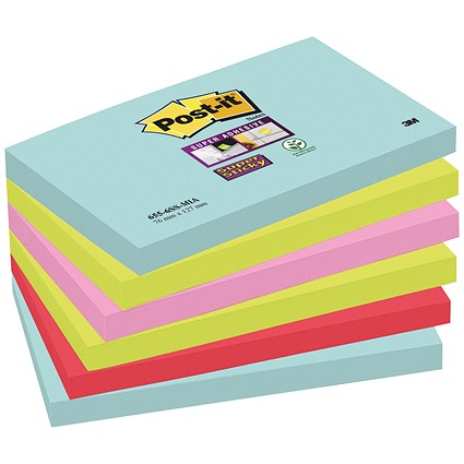 Post-It Super Sticky Notes, 76x127mm, Miami Assorted, Pack of 6 x 90 Notes
