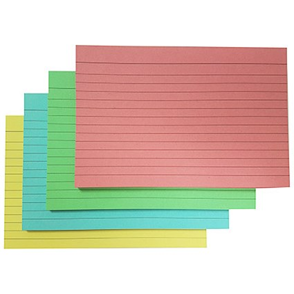 5 Star Record Cards, Ruled Both Sides, 152x102mm, Assorted, Pack of 100