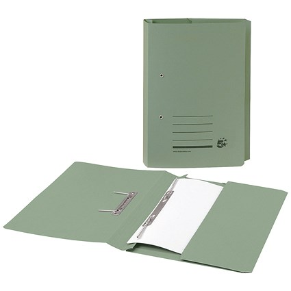5 Star Pocket Transfer Files / 285gsm / Foolscap / Green / Pack of 25