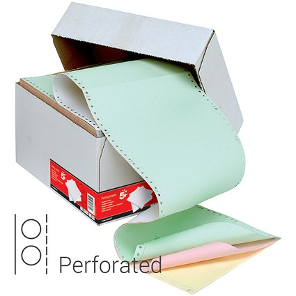 5 Star Computer Listing Paper / 4 Part / 11 inch x 241mm / Perforated / White, Yellow, Pink & Green Sheets / Box (500 Sheets)