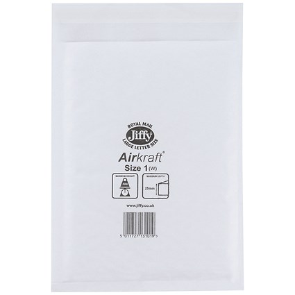 Jiffy Airkraft No.1 Bubble-lined Postal Bags, 170x245mm, Peel & Seal, White, Pack of 10