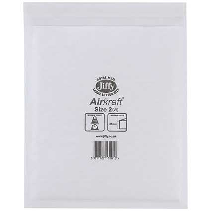 Jiffy Airkraft No.2 Bubble-lined Postal Bags / 205x245mm / Peel & Seal / White / Pack of 10