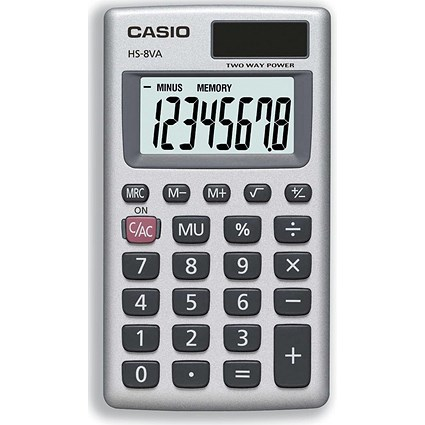 Casio Handheld Calculator / 8 Digit / 3 Key / Solar and Battery Power / Silver