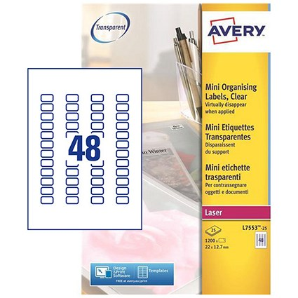 Avery Clear Laser Addressing Labels / 48 per Sheet / 22x12.7mm / L7553-25 / 1200 Labels