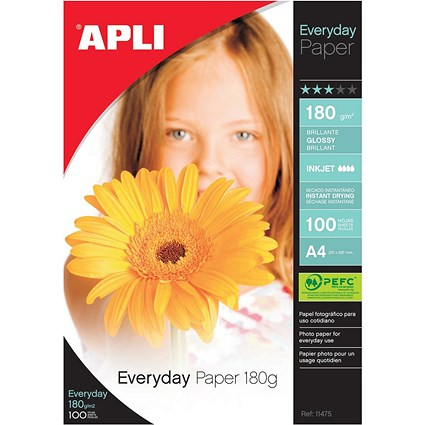 Apli A4 Everyday Glossy Photo Paper / White / 180gsm / Pack of 100 Sheets