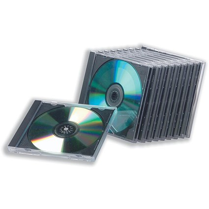 Standard Jewel CD Case, High Impact Protection for 1 Disk, Clear, Pack of 10