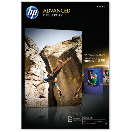 HP A3 Advanced Glossy Photo Paper / White / 250gsm / Pack of 20