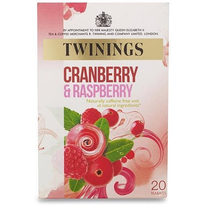 Twinings Infusion Cranberry and Raspberry Tea Bags / Individually-wrapped / Pack of 20