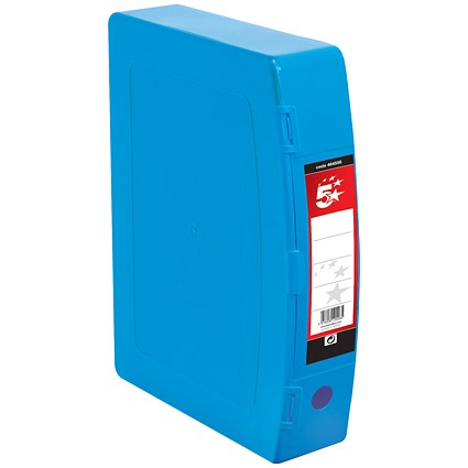 5 Star Plastic Box File / Twin Clip Lock / 75mm Spine / Foolscap / Blue