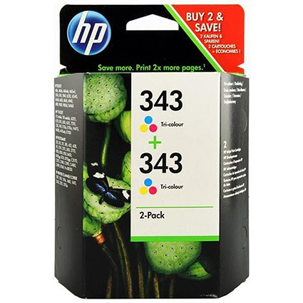 HP 343 Colour Ink Cartridge (Twin Pack)