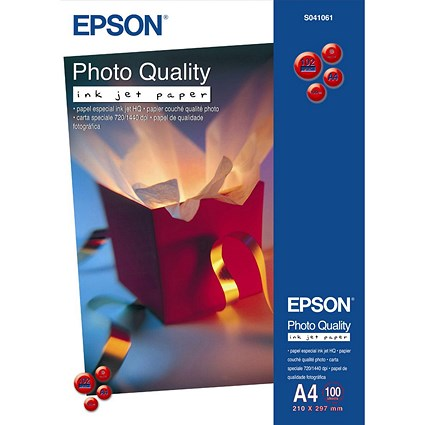 Epson A4 Matt Quality Photo Inkjet Photo Paper, White, 104gsm, Pack of 100