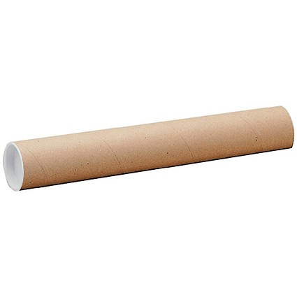 Cardboard Postal Tube with Plastic End Caps, L720xDia.102mm, Pack of 12