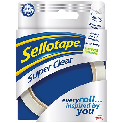Sellotape Super Clear Premium Quality Easy Tear Tape / 24mmx50m / Pack of 6