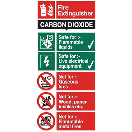 Stewart Superior CO2 Fire Extinguisher Safety Sign W100xH200mm Self-adhesive Vinyl