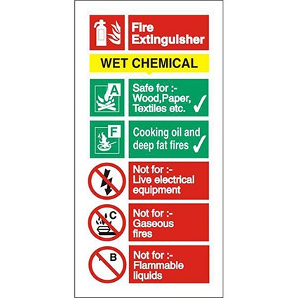 Stewart Superior Wet Chemical Fire Extinguisher Safety Sign W100xH200mm Self-adhesive Vinyl