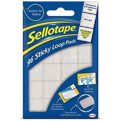 Sellotape Sticky Loop Pads, 20x20mm, White, 96 Pads