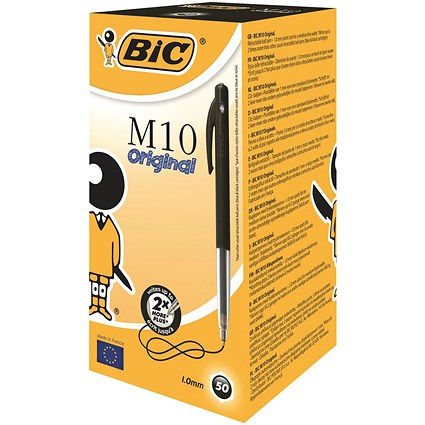 Bic M10 Clic Ball Pen Retractable / Black / Pack of 50