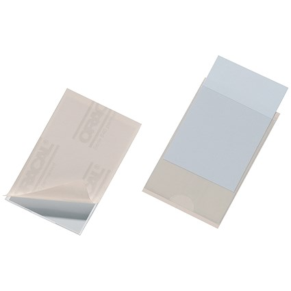 Durable Pocketfix Self-adhesive Business Card Pocket / Side-opening / 57x90mm / Pack of 10