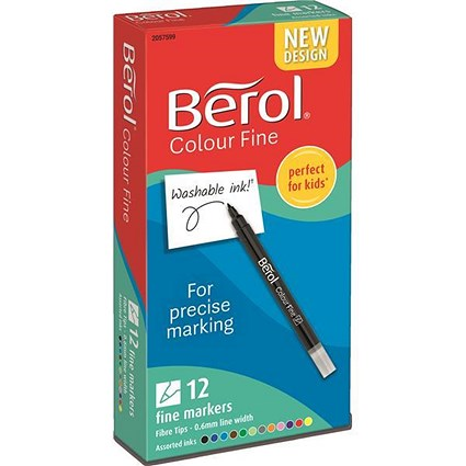 Berol Colour Fine Pens / Washable Ink / 0.6mm Line / Assorted Colours / Wallet of 12