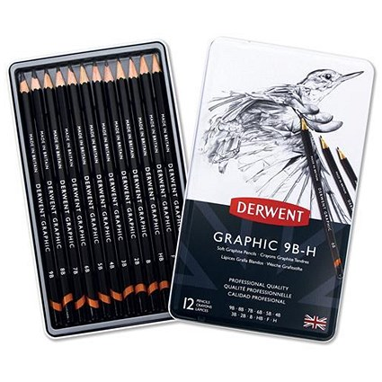 Derwent Graphic Pencils / Sketching Graphite / 9B-H / Pack of 12