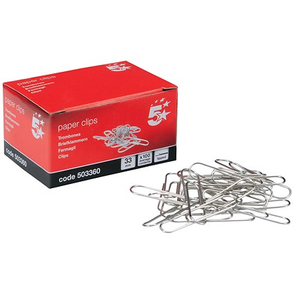 5 Star Large Metal Paperclips - 33mm, Lipped, Pack of 10x100