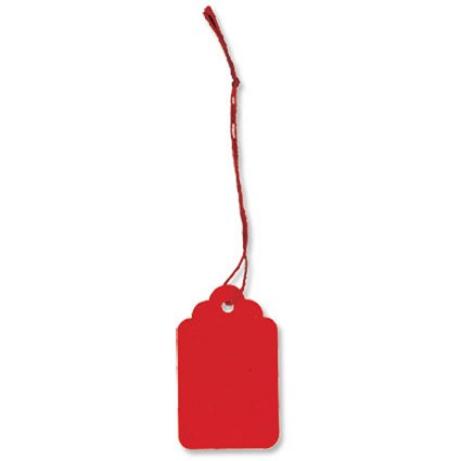 Strung Tags / 48x30mm / Red / Pack of 125