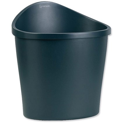 Rexel Agenda 2 Waste Bin / Elliptical / Handle on Rear / 18 Litres / W413xD330xH457mm / Charcoal