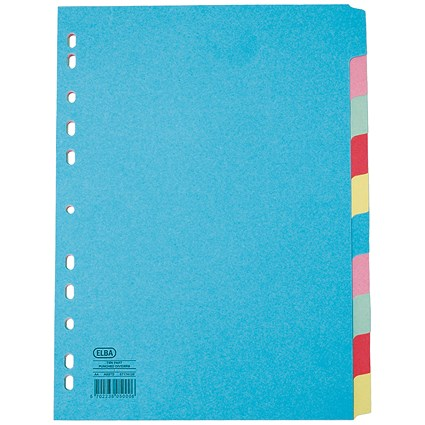 Elba Subject Dividers / Extra Wide / 10-Part / A4 / Assorted
