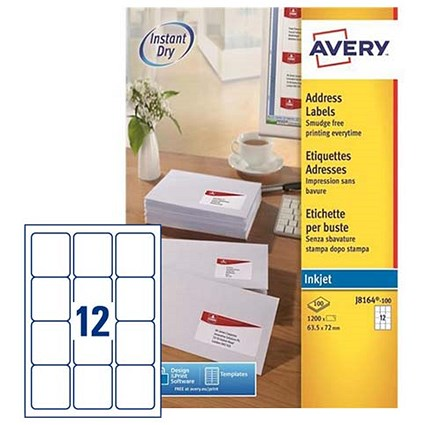 Avery Quick DRY Inkjet Addressing Labels, 12 per Sheet, 63.5x72mm, White, J8164-100, 1200 Labels