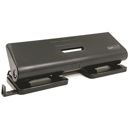 Rapesco 75P 4-Hole Punch / Black / Punch capacity: 16 Sheets